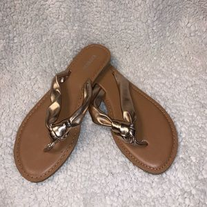 Express Metallic Rose Gold Sandals
